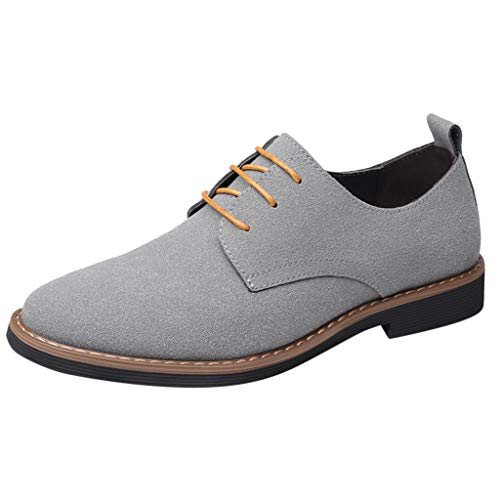 Men's Casual Solid Color Business Shoes,Slip Resistant Breathable Comfortable Retro Leather Dress Shoes Gray