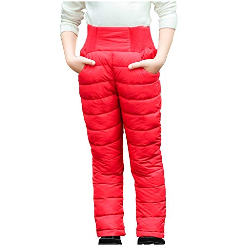 Samore Jungen und Mädchen Dicker Daunenhose, Winter, warm, verstaubar, Schneehose Winddicht, wasserabweisend Freizeit Hosen