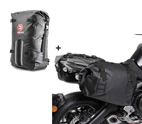 Set Motorrad Satteltaschen Bagtecs WD1 + Rucksack Dry Bag HX2
