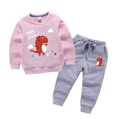 SPFAZJ Babykleidung, Neugeborene Babys Babys Mädchen Cartoon Hoodie Tops Shirt Hosen Sets Baby Anzüge (F:Pink,150CM