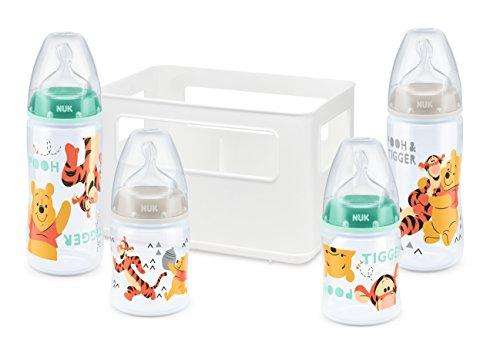 NUK Disney Winnie the Pooh First Choice + Babyflaschen Starter Set mit 4 Anti-Colic Weithalsflaschen (2x 150ml & 2x 300ml) mit Silikonsauger & Flaschenbox, BPA-frei, grün