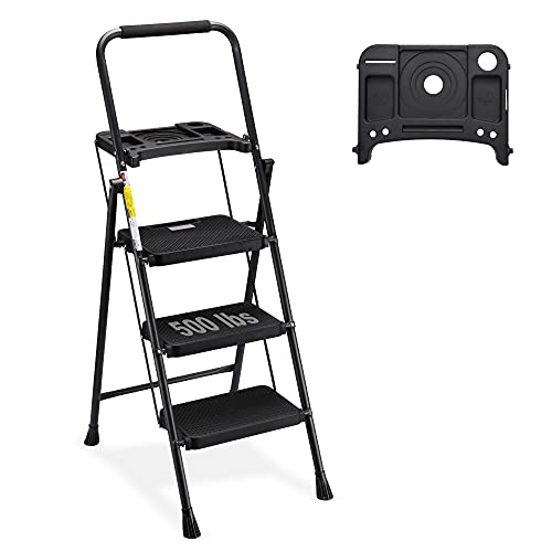 HBTower 3 Step Ladder with Tool Tray, Folding Step Stool with Wide Non-Slip Pedal and Comfort Handgrip for Household and Office, Lightweight 500lbs Capacity Step Ladder, Black