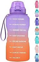 Fidus Large 1 Gallon/128oz Motivational Water Bottle with Time Marker & Straw,Leakproof Tritan BPA Free Water Jug,Ensure...