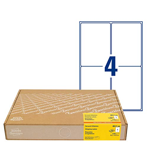 AVERY Zweckform 1.200 Versandetiketten Art. 8017 (99,1x143,5mm (A6) Adressetiketten selbstklebend für DHL und Hermes, Versandaufkleber, 3483, 300 Blatt, für alle Drucker)