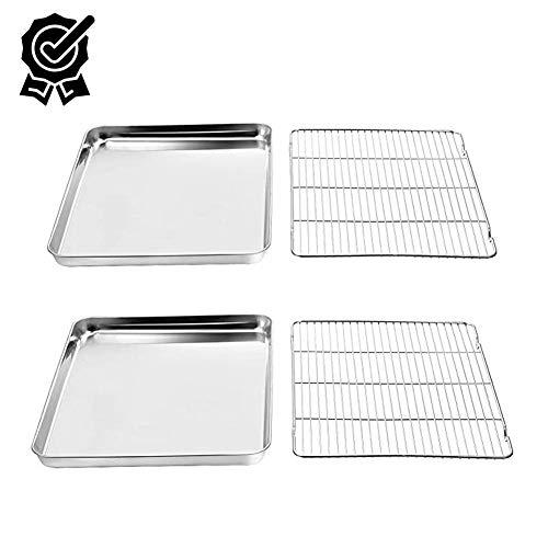 Bakplaten, bakplatenrek Set van 2 bladen en 2 rekken, roestvrijstalen koekenpan met koelrek, afmeting 15,7 x 11,8 x 1,9 inch, niet giftig, zwaar gebruik, gemakkelijk schoon te maken