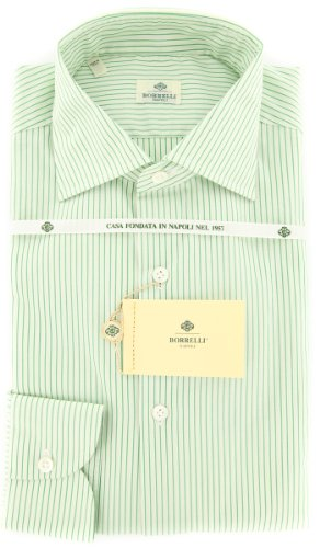Luigi Borrelli Green Stripes Button Down Spread Collar Cotton Slim Fit Dress Shirt, Size Large 16.5