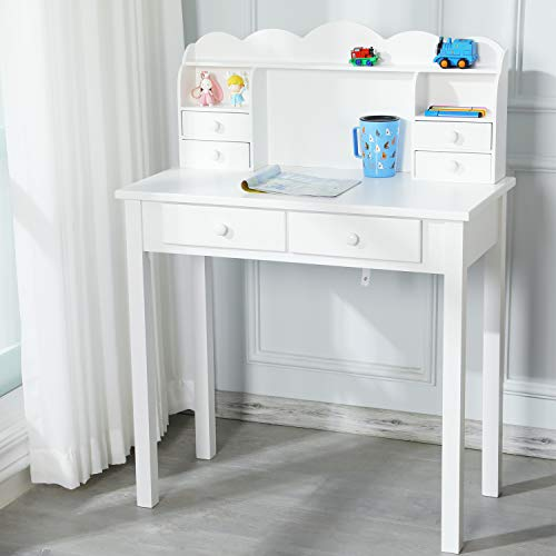 ADORNEVE Small Writing Desk with Drawers and Hutch,Simple Desk 31.5 inch White Desk Home Office Desk Kids Study Table Desk for Small Space, White