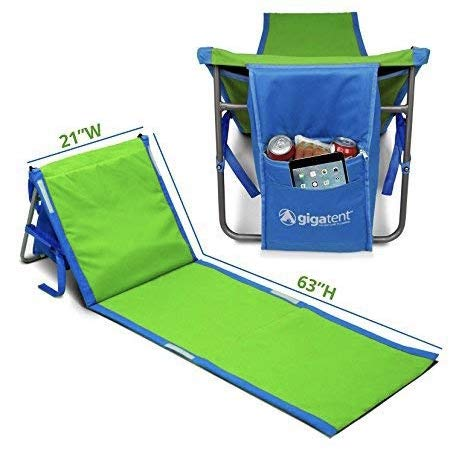 GigaTent Portable Beach Lounge Chair Mat Adjustable Backrest with Cooler Storage Pocket Lightweight Foldable Comfortable Insulated Shoulder Carrying Strap