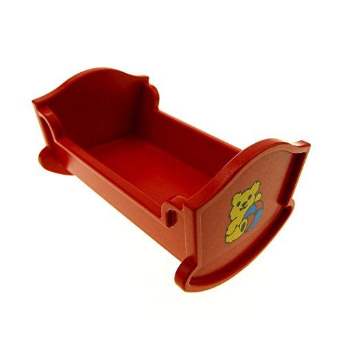 Bausteine gebraucht 1 x Lego Duplo Möbel Wiege Bett rot mit Teddy Bär Aufkleber Puppenhaus Schlafzimmer Puppenbett Belville 4908pb01