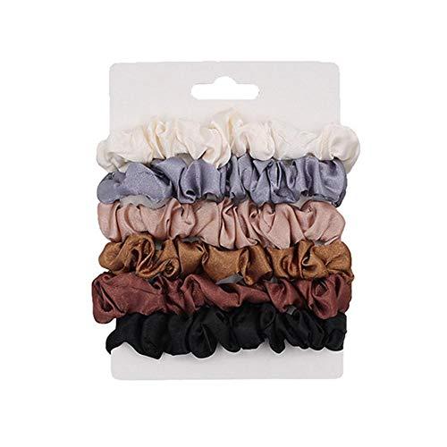 6PCS Satin Hair Scrunchies Elastische Haargummis Bänder Seil Pferdeschwanzhalter Stirnband für Frauen Mädchen Lockiges und dickes schweres Haar