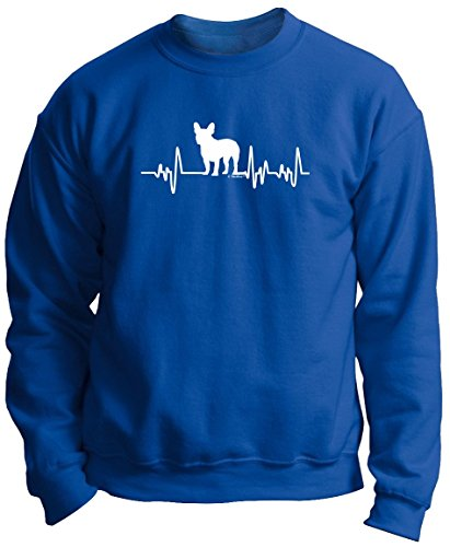 French Bulldog Gifts for Women French Bulldog Gifts Dog Lover Heartbeat Frenchie Premium Crewneck Sweatshirt XL Royal