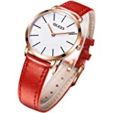 OLEVS Womens Thin Watches for Ladies Female College Students Red Leather Wrist Watch White Dial Waterproof Minimalist Fashion Casual Simple Dress Quartz Analog Classic Strap Gifts with Date Calendar