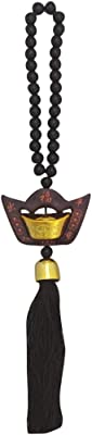 Divya Mantra Decorative Chinese Feng Shui Ingot Talisman Black Beads Gift Amulet Car Rear View Mirror Decor Ornament Accessories/Good Luck, Money, Protection Interior Home Wall Hanging Showpiece