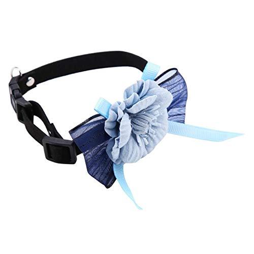 01 Hermoso Collar para Perros y Gatos, Lazo Ajustable para Mascotas, Suave a la Moda para Perros, Gatos, Cachorros,(No. 2 Blue, M)