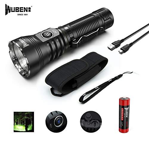 WUBEN A21 Taschenlampe LED Taschenlampe 4200 Lumen Super Helle CREE XHP70 LED Typ-C Schnelle Wiederaufladbare, mit Li-Ion Akku, Wasserdicht IP68, Camping Search Rescue Taschenlampen