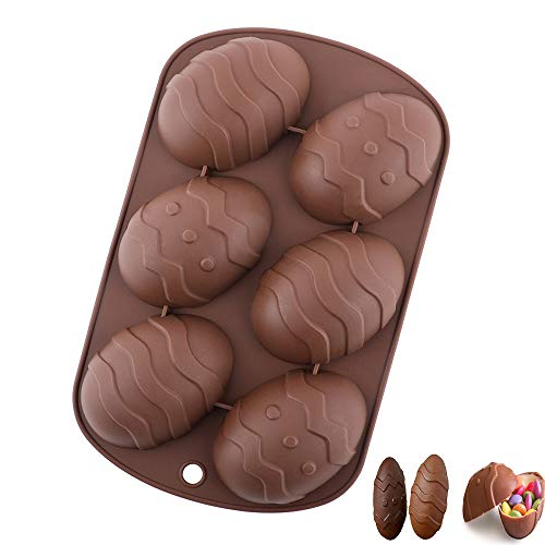 Easter Egg Molds, 3D Dinosaur Egg Chocolate Mold Giant Ostrich Egg Chocolate Cake Fondant Mould Baking Sugar Craft Decorating Mold Tool (brown)
