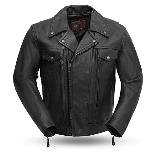 Mastermind - Men's Leather Motorcycle Jacket (BLK, M)
