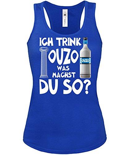 Ich Trink Ouzo was Machst du so Saufen Sauf Griechenland Geschenke Lustig Sprüche Geburtstag Damen Frauen Mädchen Tank Top T-Shirt Tanktop Grieche-n Greece Griechisch Kreta Geschenkidee Party Grieche