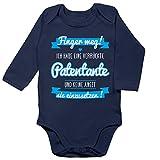 Shirtracer Sprüche Baby - Ich Habe eine verrückte Patentante blau - 12/18 Monate - Navy Blau - Baby Body sprüche Tante - BZ30 - Baby Body Langarm