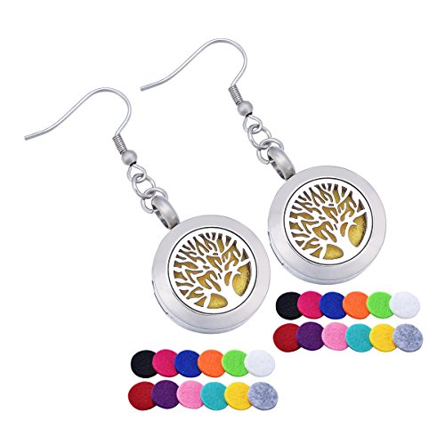 HooAMI Aromatherapy Essential Oil Diffuser Dangle Earrings - Stainless Steel Tree of Life Locket Jewelry,24 Refill Pads
