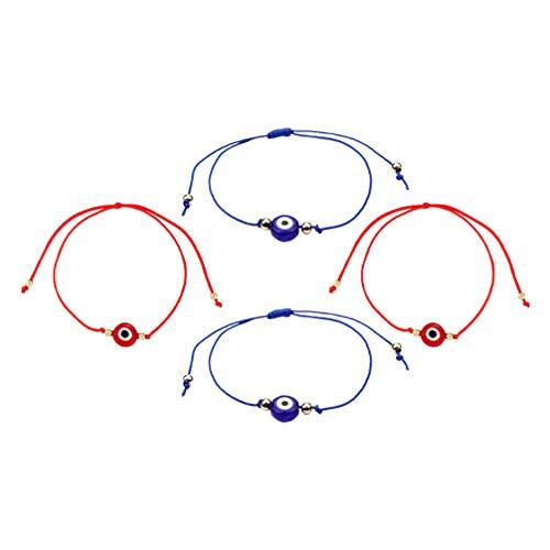 TOYANDONA 4Pcs Evil Eye Armbänder Geflochtene String Armbänder Glück Türkische Symbol Schmuck Nazar Amulett Armreif für Freunde (Zufällige Farbe)