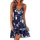 NAQUSHA Mini vestido suelto para mujer, casual, sin mangas, temperamental, vestido de playa, cuello en V, vestido de fiesta floral bohemio (B-azul claro, pequeño)