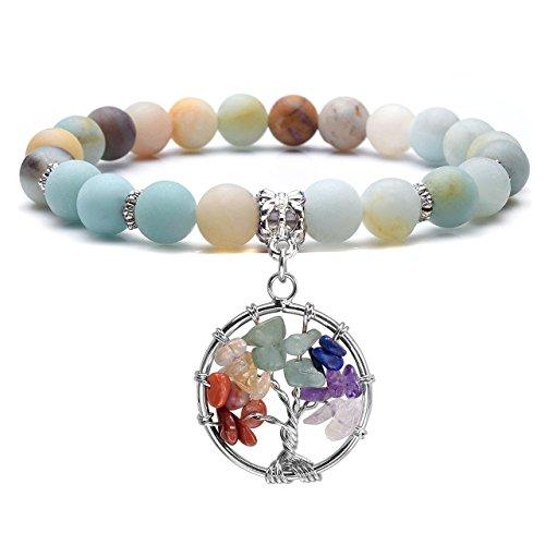 Jovivi 7 Chakras Healing Crystal Bracelet Natural Round Stone Beads Yoga Balancing Quartz Jewelry Tree of Life Tumbled Gemstone Stretch Bracelet w/Gift Box