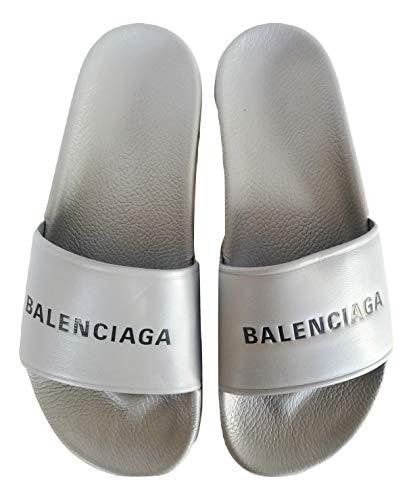 Balenciaga Chanclas de piel y goma para hombre, 506347WAL001417, gris Size: 43 EU