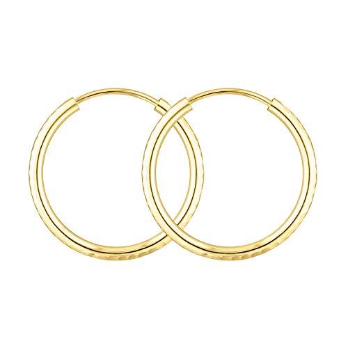 EDELWEISS Pendientes de Aro Para Mujer Oro amarillo 375 — Aros Pendientes Oro 9K, diámetro 30 mm, ancho 2 mm