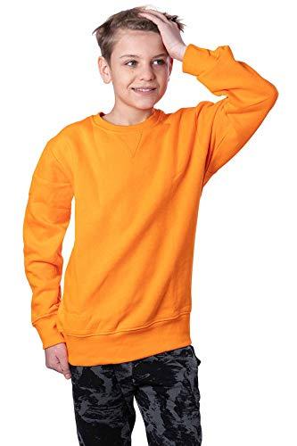 Mivaro Jungen Sweatshirt, Pullover ohne Kapuze für Kinder, Größe:134/140, Farbe:Orange