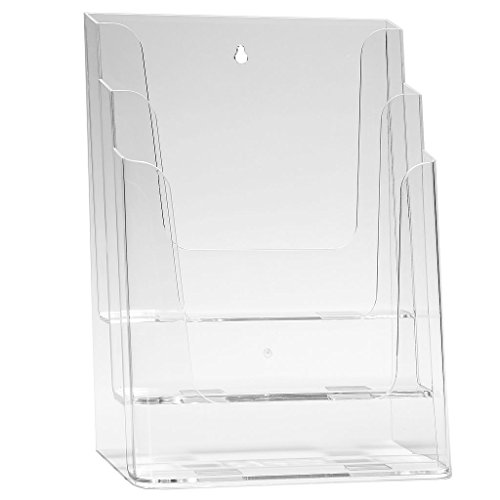 DIN A4 Prospekthalter Prospektständer Tischaufsteller Katalogständer mit 3 Etagen - transparent