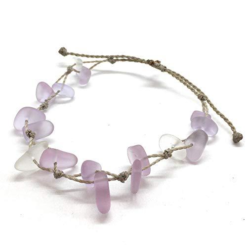 Light Purple Sea Glass Bracelet or Anklet on Hand Spun Rope, Del Mar, Waterproof and Beach Ready, Handmade in the Caribbean (Bracelet)