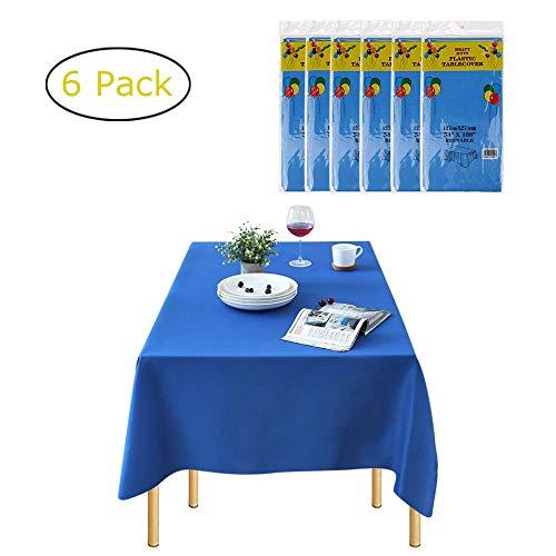 Chengtao Tischdecke Einweg, Tischdecke Plastik - 6er Pack, Garten Tischdecke Rechteckig Tischtuch Tischtuchtischdecke für draussen