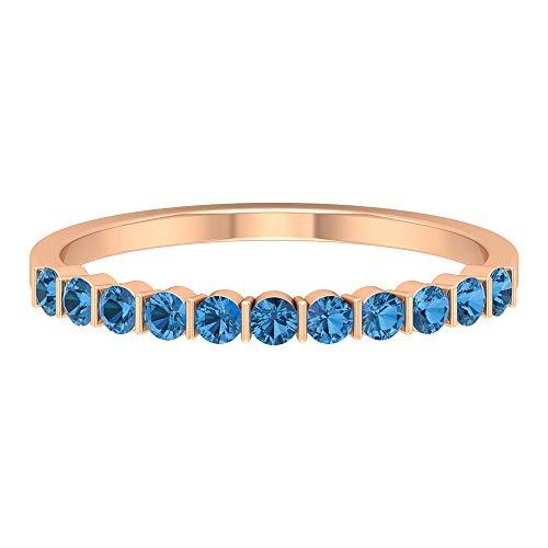 Anillo apilable de zafiro azul ártico de 1/2 CT creado en laboratorio, anillo de promesa (calidad AAAA), 14K Oro rosa, Size:EU 52