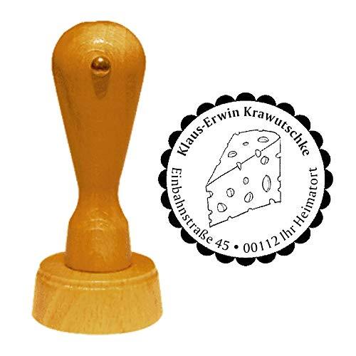 Stempel Adressstempel « KÄSE 02 » Durchmesser ca. Ø 40 mm - mit persönlicher Adresse, Motiv und Zierrand - Käsetheke Käsestück