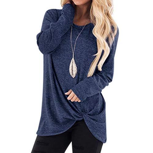 Dasongff dames sweatshirt ronde hals lange mouwen gebreide trui blouse slim fit longshirt trui sweater effen shirt met lange mouwen X-Large marineblauw