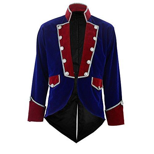 Darkrock New Men's Velvet Vladimir Tuxedo Jacket Tailcoat Goth Steampunk Victorian (XX-Large, Blue)