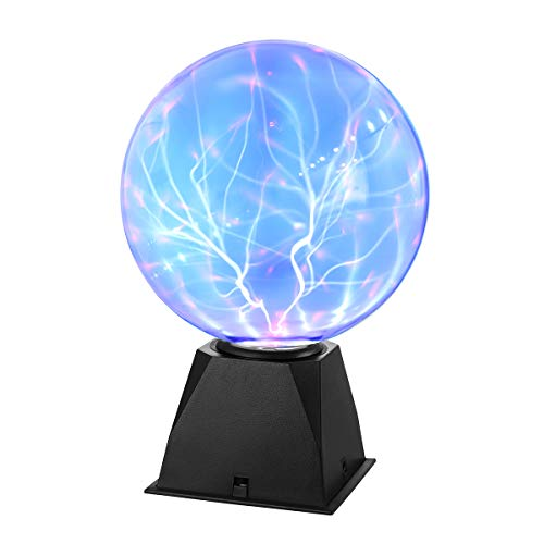 LEDMOMO - Sfera al plasma magica, luce blu, luce lampeggiante Touch Sensitive, 8 pollici.