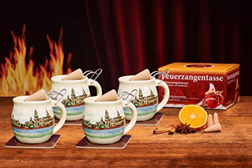 Feuerzangentasse 4er-Set, Cremeweiß/Dresden - für Feuerzangenbowle