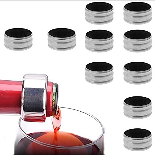 10pcs Anillo de vino Anillo de vino acero inoxidable Accesorios para botellas de vino Anillo de vino antigoteo para bares y restaurantes familiares,vino espumoso,champán u otras botellas(plateadas)