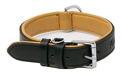 "Riparo Genuine Leather Padded Dog Heavy Duty K-9 Adjustable Collar 1.5"" Wide Fits 18"" - 21"" Neck (Large, Black)"