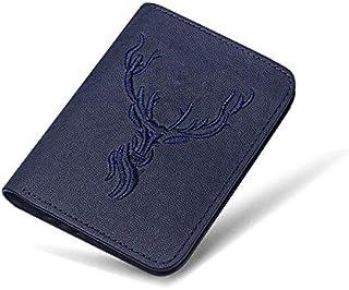 محفظات - محفظة جلدية صغيرة وعصرية ومدمجة للرجال مصنوعة يدويًا من جلد البقر مع حامل بطاقة، ذات تصميم قصير (لون ازرق شاينا)
