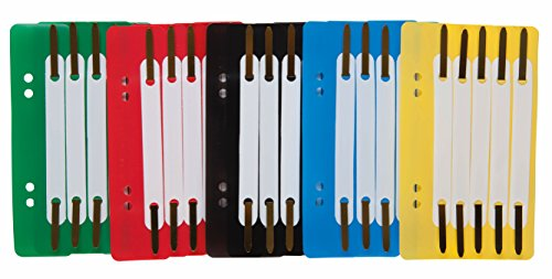 Idena 300391 - Heftstreifen aus Kunststoff, 5-fach farbig sortiert, 25 Stück