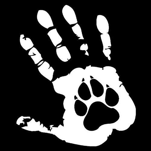 Etiquetas engomadas del Coche 10.8Cm * 12.7Cm La calcomanía del Perro de la Palma para la Ventana Motocicletas Maleta Portátil Ventana Reflectante Etiqueta a Prueba de Agua -Silver3 Pcs