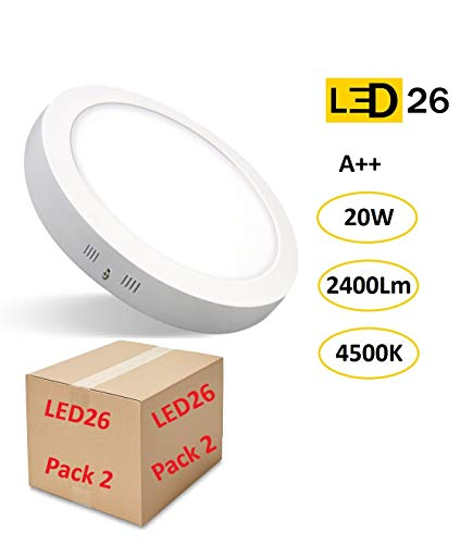PACK 2 DOWNLIGHT PANEL SUPERFICIE LED CIRCULAR 20W plafon Redondo Para Techo y Pared LUZ BLANCA NEUTRA [Clase de eficiencia energética A++]