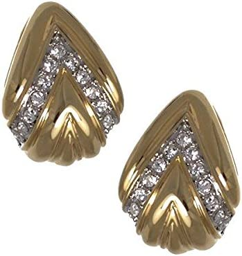 Ivory Gold tone Crystal Clip On earrings