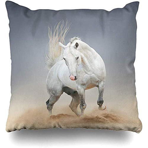 Mackinto Kissenbezug Platz 18 x 18 Achal White Horse Desert Action Nature Farm Teke Rasse schnell grau Design