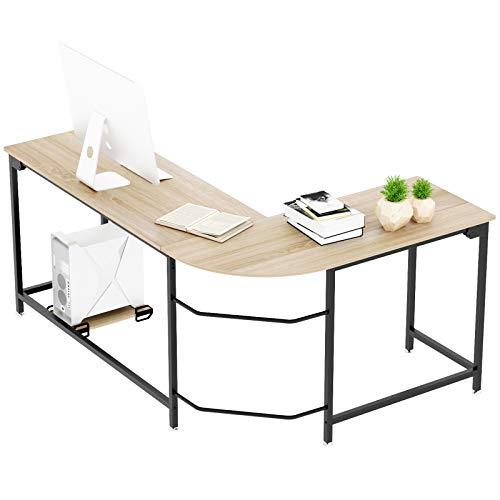 Elephance L Shaped Computer Desk Home Office Desk for Workstation, Writing, Gaming Desk PC Laptop Table (Small, Oak)