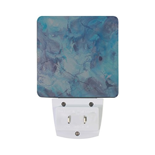 XinMing White Watercolor Marble LED Sensor Night Light Super Bright Power Dusk To Dawn Sensor Bedroom Kitchen Bathroom Hallway Toilet Stairs Energy Efficient Compact(2 PACK)