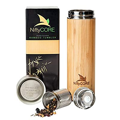 Bamboo Tumbler with Tea Infuser Bottle Loose Leaf Strainer – Advanced Double Insulated Stainless Steel Travel Thermos - Best Gift for Tea Lovers - Leak-Proof Hot Coffee Mug, Fruit Water Bottle (17 oz) by